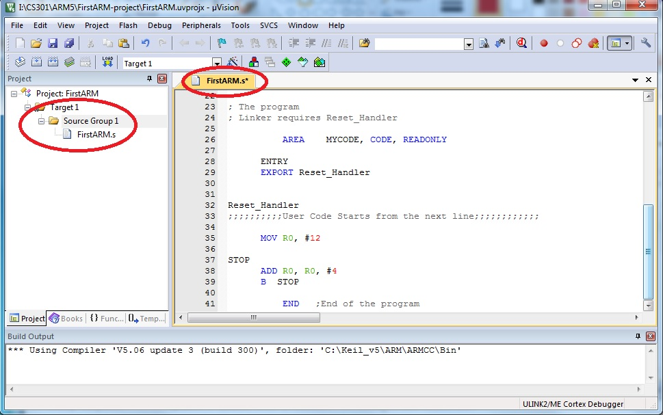 writing arm assembly code in keil equipment